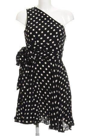 Asos One-Shoulder-Kleid schwarz-wollweiß Punktemuster schlichter Stil