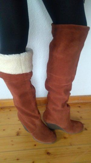 ASOS Overknee Stiefel mit Keilabsatz Gr. 40 neu braun Wildleder