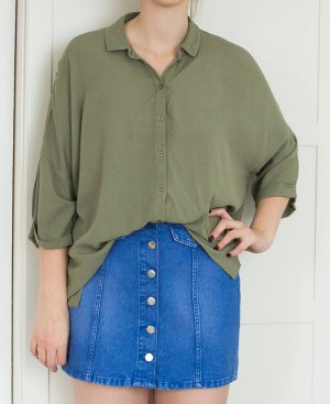 ASOS Oversize Military Bluse Hemd khaki Fledermausärmel
