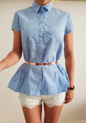 Asos oversized Peplum Hemd 34 36 XS S M blau Schößchen Bluse Oberteil Tunika Shirt Longshirt Top Neu
