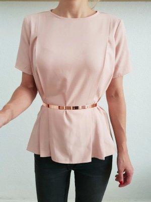 Asos oversized Peplum Shirt 32 34 36 XS S rosa Schößchen Bluse Oberteil Tunika Longshirt Top Neu