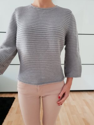 Asos oversized Pullover 34 36 XS S grau knit Volantärmel Pulli Oberteil Bluse Tunika Strick Top