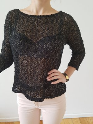 Asos oversized Pullover 34 36 XS S schwarz gold knit Longpulli Bluse Longpullover Shirt Hemd Strick Spitze Top NP 39€