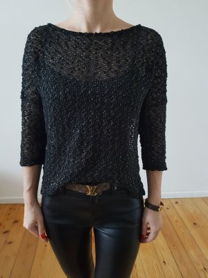 Asos oversized Pullover 34 36 XS S schwarz gold knit Longpulli Bluse Longpullover Shirt Hemd Strick Spitze Top NP 40€