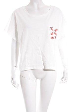 Asos Oversized Shirt weiß-hellrot Motivdruck Casual-Look