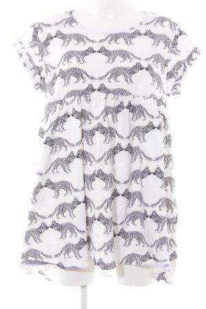Asos Top extra-large blanc-noir motif graphique imprimé animal