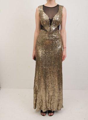 ASOS Pailletten Club L Abendkleid Gold Schwarz, Größe 4 / 32, XS