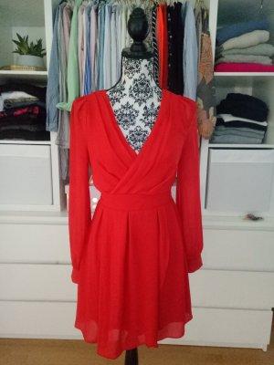 Asos Partykleid Rot Weihnachten Silvester Kleid Cocktailkleid Chiffon S M 36 38