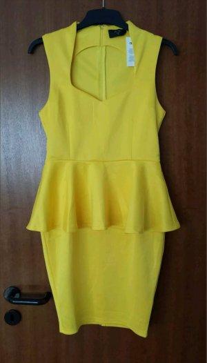 Asos Peplum Kleid Schößchen Gelb 40