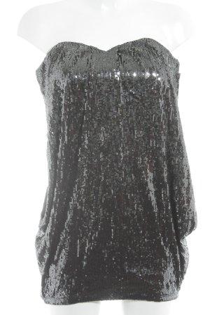 Asos Petite Bandeau top zwart-zilver feest stijl