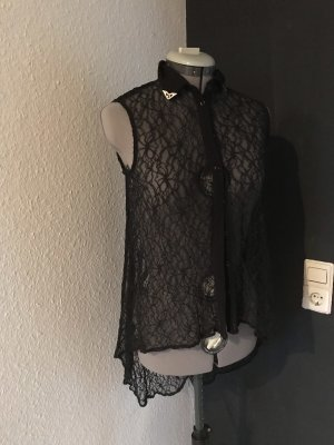 Asos Petite Bluse schwarz mit Spitze XS/S