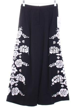 Asos petite Falda pantalón de pernera ancha negro-blanco estampado floral