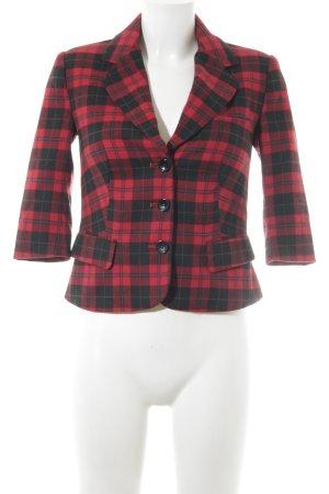 Asos Petite Blazer corto nero-rosso motivo a quadri stile casual