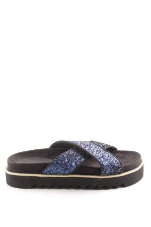 Asos Plateau-Sandalen schwarz-blau Glitzer-Optik