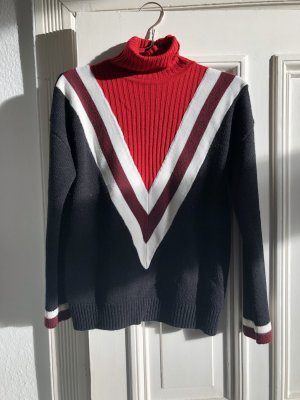 Asos Pullover Rollkragen College rot schwarz weiß Dreieck streifen Tennis