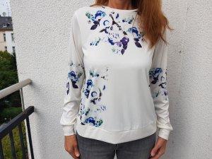 Asos Pullover Sweatshirt Bluse mit Rosenprint Blumen Weiß Blau Größe 44