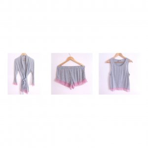 ASOS Pyjama Schlafanzug Set mit Kimono Babydoll Shorts Spitze Morenmantel S M L