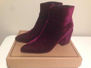 ASOS Radio Star Velvet Ankle Boot violetter Samt Glam Rock Vintage