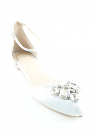 Asos Strappy Ballerinas silver-colored-baby blue wet-look
