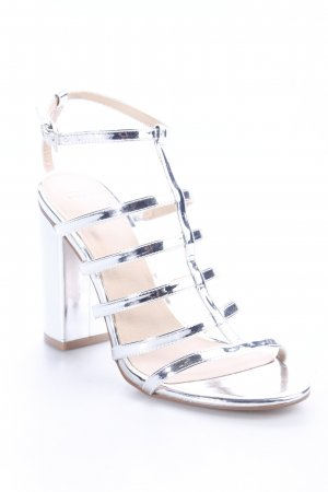 Asos Strapped High-Heeled Sandals silver-colored metallic look