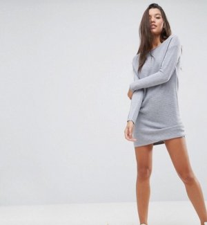 Asos Gebreide jurk lichtgrijs