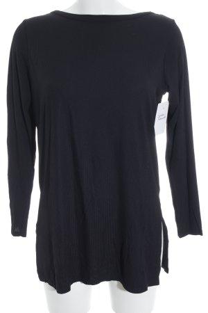Asos Rippshirt schwarz-silberfarben Casual-Look