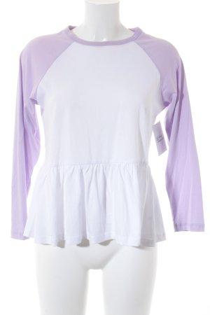 Asos Rippshirt weiß-blasslila schlichter Stil