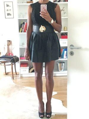 Asos Jupe évasée noir faux cuir