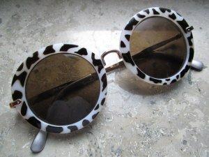 Asos Runde Brille Giraffen Print Weiß Goldgestell
