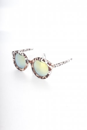 Asos runde Sonnenbrille beige-dunkelbraun Animalmuster Urban-Look