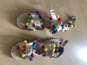 Asos Sandalen Bommel Pompons Bunt Gold Sandale Sandalette