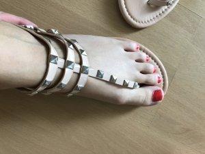 Asos Sandalen Nieten Sandale Sandalette Nude Silber Studs