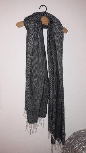 Asos Schal Cape Stola Graphisch Design Black White Fransen Oversize XXL