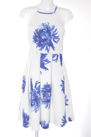 Asos schulterfreies Kleid weiß-blau Blumenmuster Casual-Look