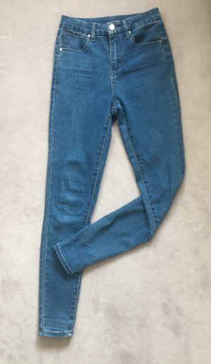 Asos Denim Hoge taille jeans blauw-staalblauw Katoen
