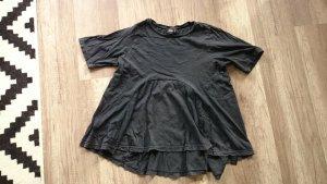 Asos Shirt T-Shirt Blusenshirt Volants ausgestellt schwarzgrau Grunge 36