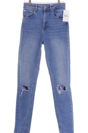 Asos Skinny Jeans blau Destroy-Optik