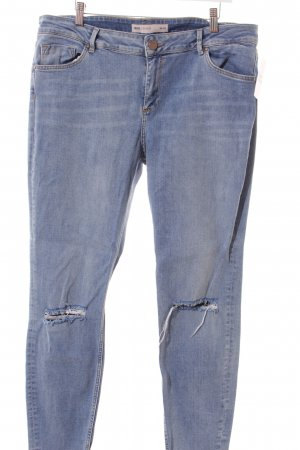 Asos Slim Jeans graublau Used-Optik