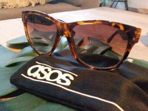 asos Sonnenbrille braun Schildpatt mit Lederbügeln wayfarer Style
