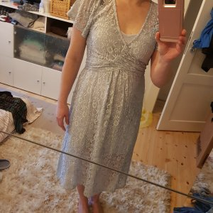 ASOS#Spitze#Neu Kleid Silbergrau