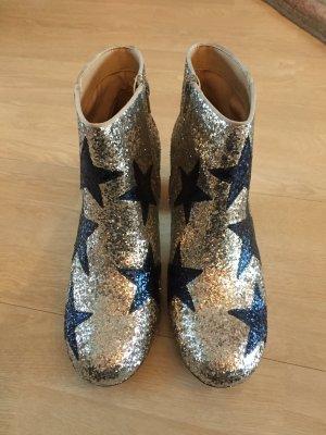 Asos Stiefeletten Glitzer Silber Blau Sterne neu 41