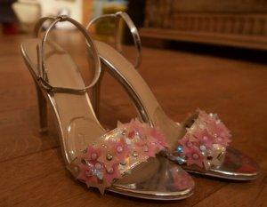 Asos Stilettos High Heels Silber rosa metallic Größe 37 UK4 Hochzeit Frühjahr