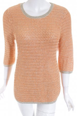 Asos Strickpullover apricot-goldfarben Metallic-Optik