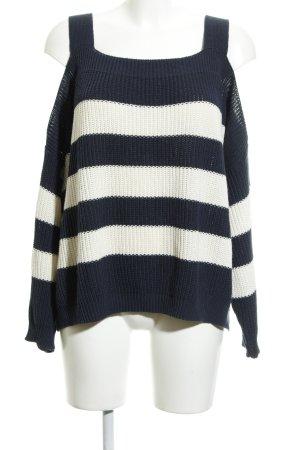 Asos Strickpullover weiß-dunkelblau Streifenmuster Casual-Look