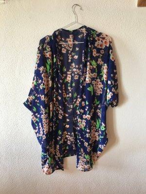 ASOS Süßer Sommer-Kimono, blau mit Blumendruck, Gr. S-M