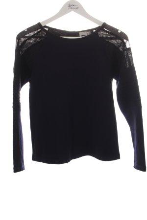 Asos Sweatshirt dunkelblau-schwarz Materialmix-Look