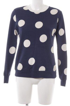 Asos Sweatshirt dunkelblau-weiß Punktemuster Casual-Look
