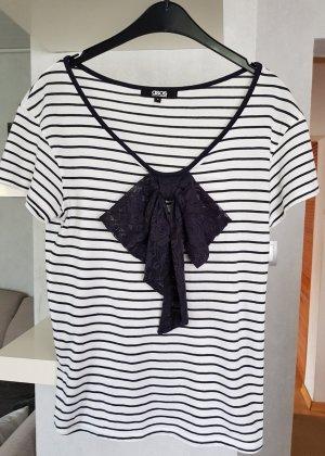 ASOS T-Shirt gestreift marine-weiß mit Schleife aus Spitze S