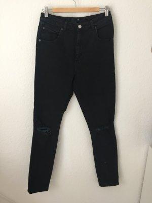 Asos Tall Mom Jeans mit Rissen Schwarz