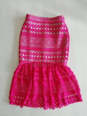 Asos Tall High Waist Skirt light grey-neon pink